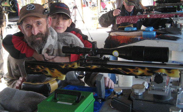 Shooter of the year co-winner Tom E Jacobs and his son Rory, Junior Shooter of the Year for 2013